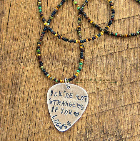 You're Not Strangers If You Love LOCASH Guitar Pick Beaded Necklace