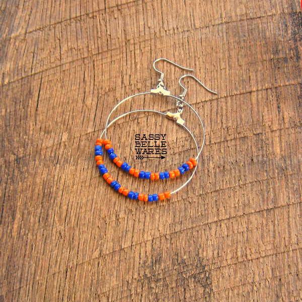 "Beaded Hoop Earrings 1.75"" Diameter Silver Hoops Orange and Blue Beads"