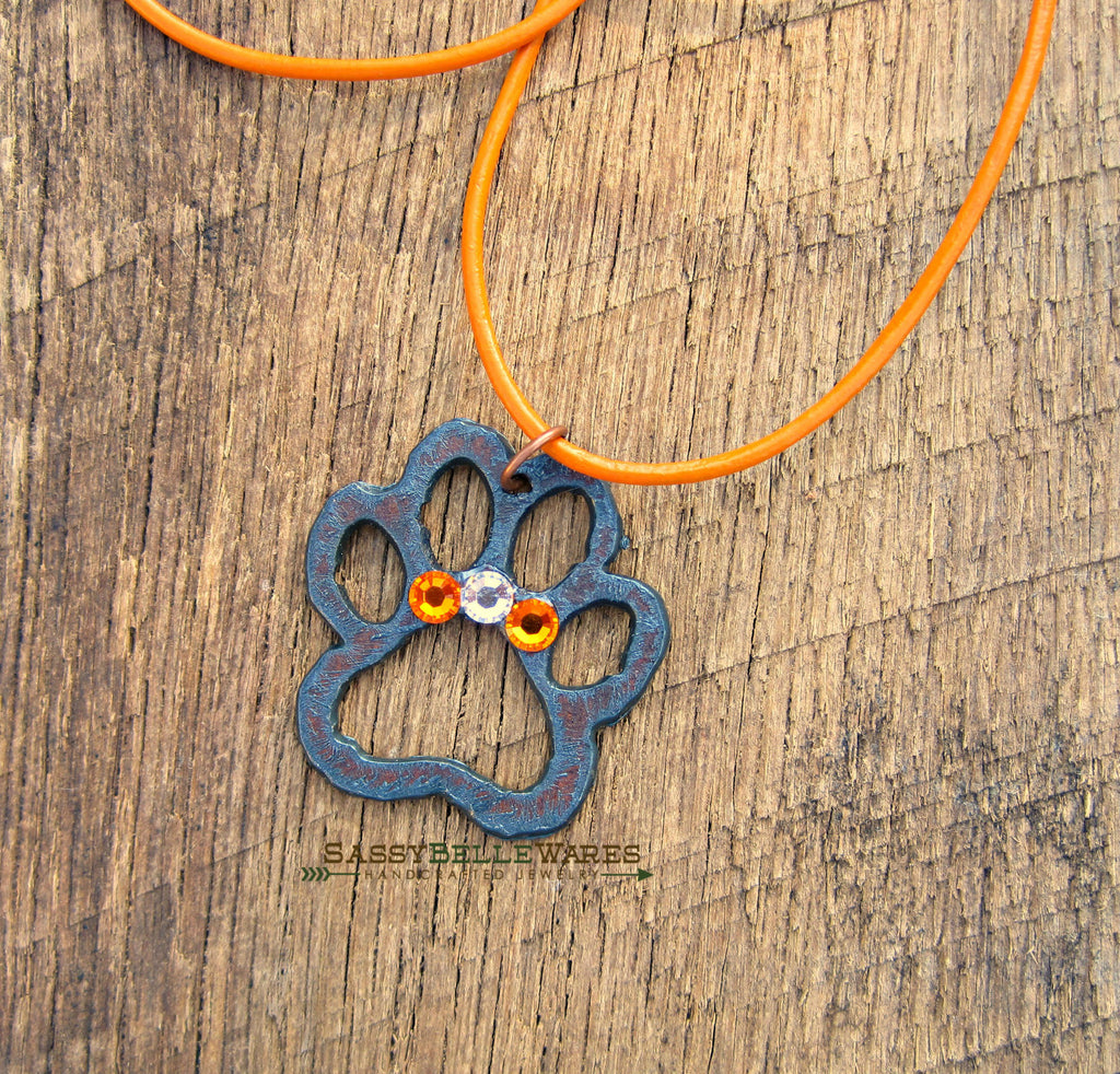 Rustic Paw and Crystals Leather Necklace