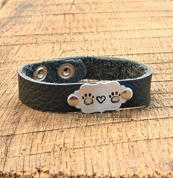 Paws and Heart Leather Bracelet
