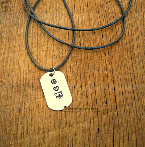 Peace Love Cats Dog Tag Leather Necklace
