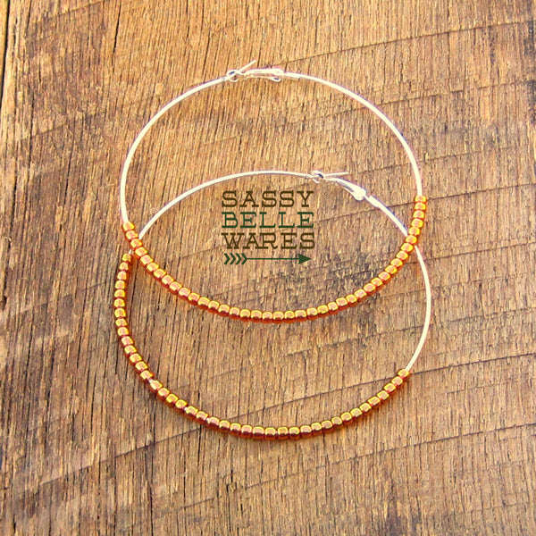 "Giant Beaded Hoop Earrings 3.5"" Diameter Silver Hoops Gold Beads"
