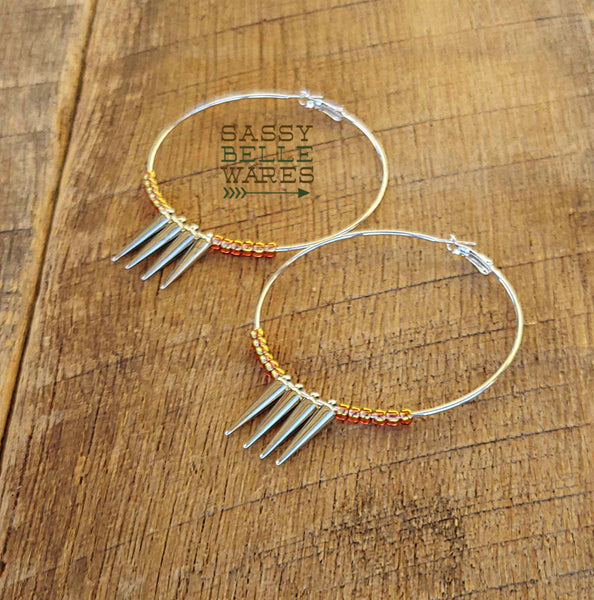 "Hoops Spikes and Beads Earrings 2.75"" Diameter Gold"