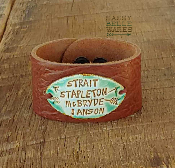 Custom Fave Country Music Artists or Words Leather Cuff Bracelet