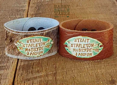 Country Music Artists Leather Cuff Bracelet