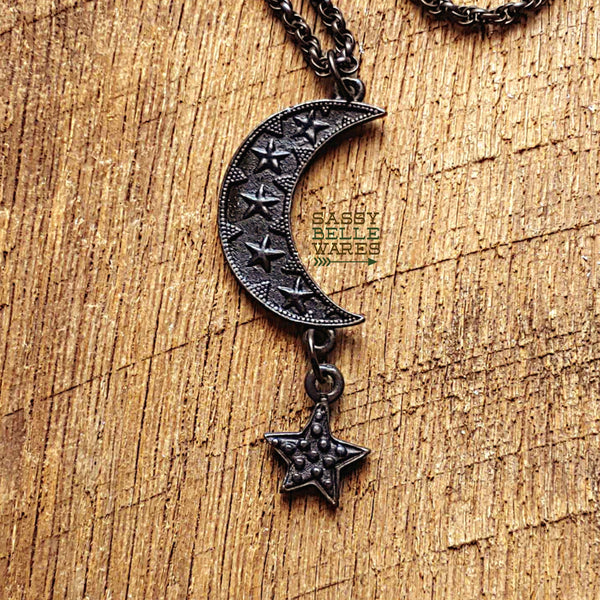 Crescent Moon and Star Choker Necklace in Rustic Black
