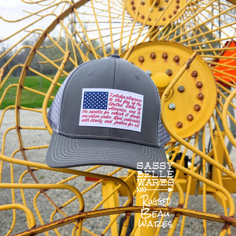 Pledge of Allegiance Hat - Grey