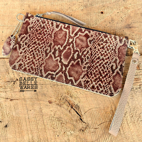 Leather Wristlet - Ivory Chocolate Silver Snakeskin Pattern