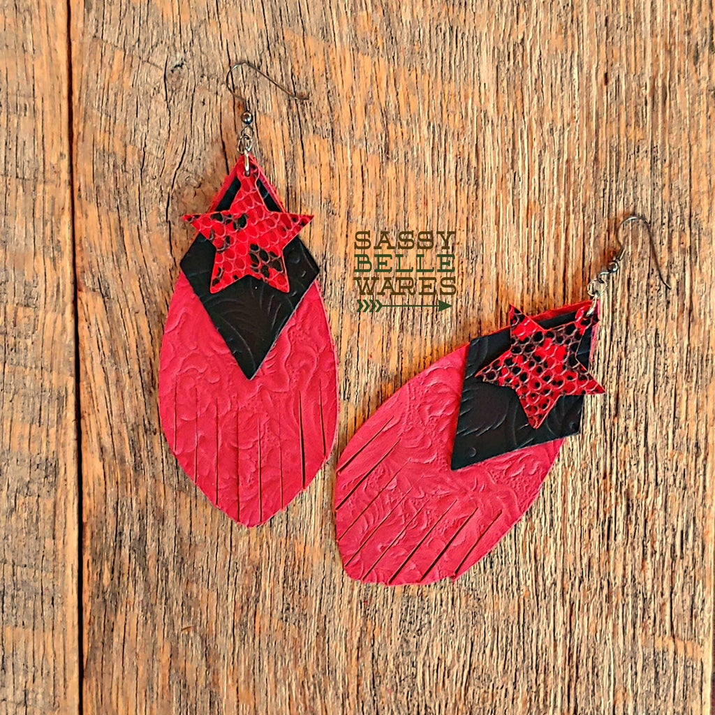 Leather Layered Earrings - Red Fringed Teardrop with Black Diamond and Red & Black Star