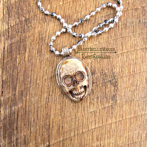 Mens Tibetan Silver and Ox Bone Skull Necklace