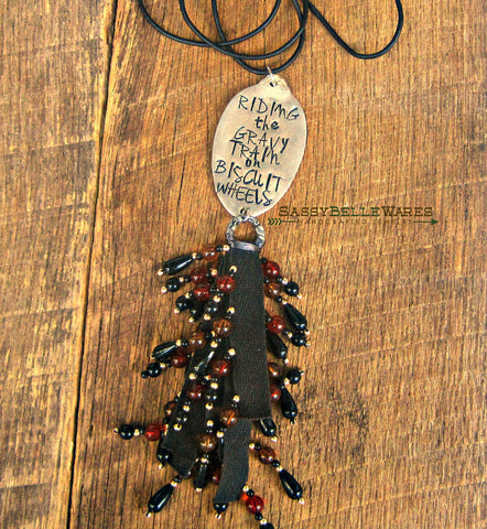 Riding the Gravy Train on Biscuit Wheels Beaded Tassel Leather Necklace