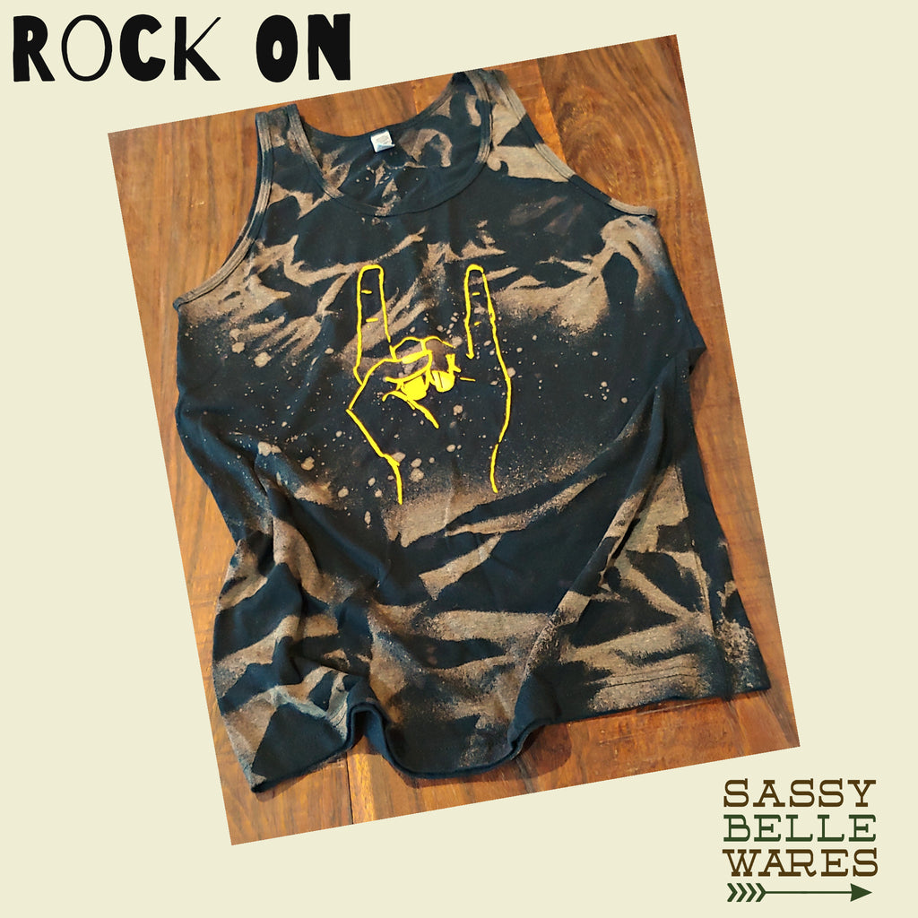 Rock On Distressed Tank