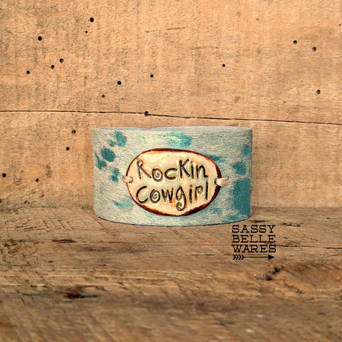 Rockin' Cowgirl Metallic Turquoise Cowhide Leather Cuff Bracelet