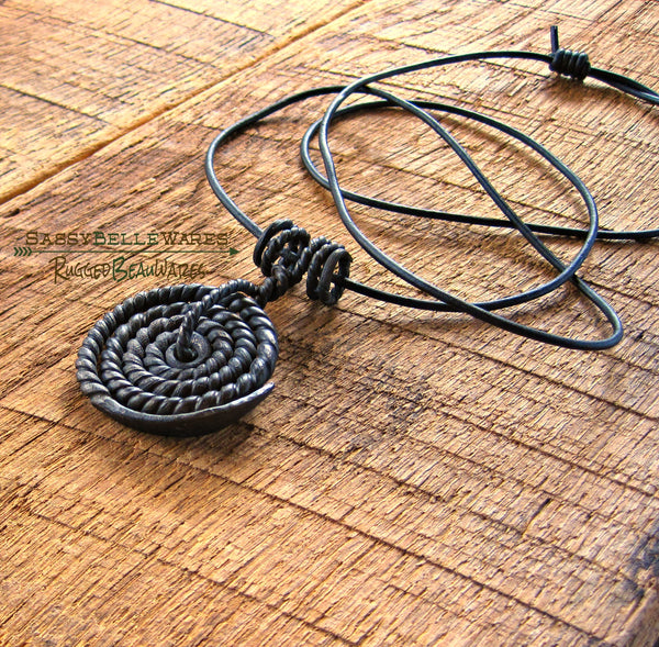 Mens Coil Leather Necklace