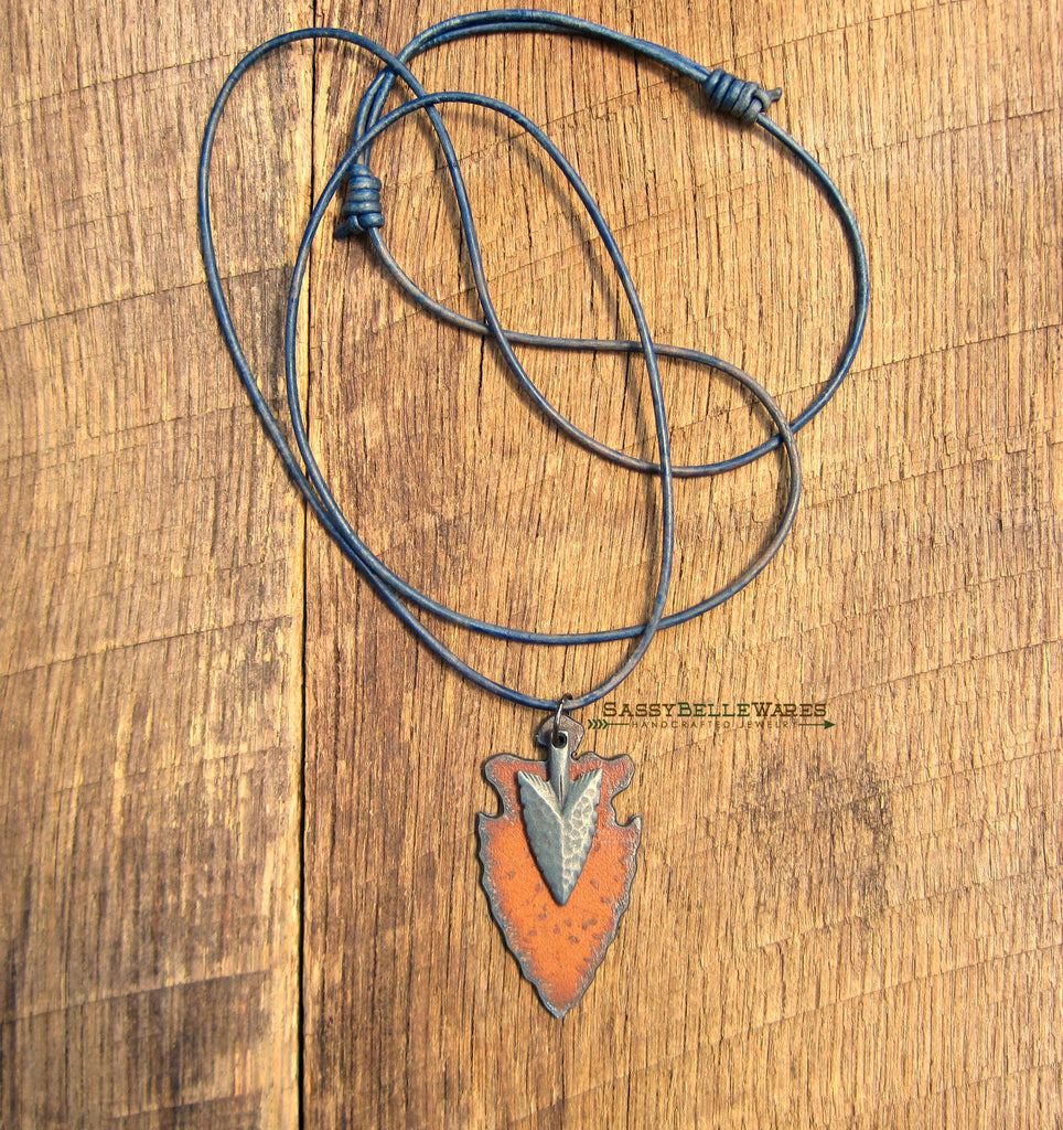 Double Arrowhead Leather Necklace