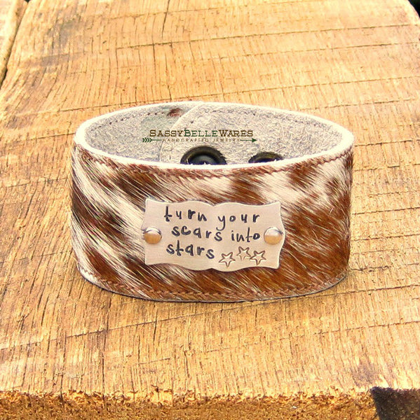 Turn Your Scars Into Stars Leather Cowhide Cuff Bracelet