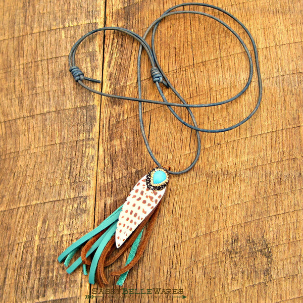 Feather and Tassel Leather Necklace