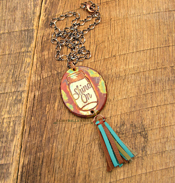 Mason Jar Shine On Leather Tassel Necklace