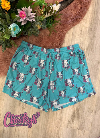 Cow Skull Shorts - Turquoise
