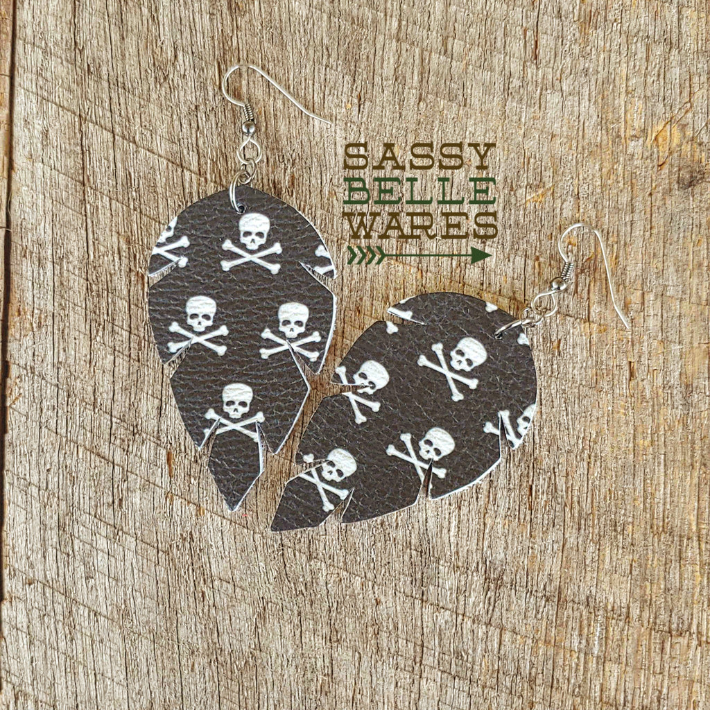Leather Leaf Earrings Skulls and Crossbones Black and White