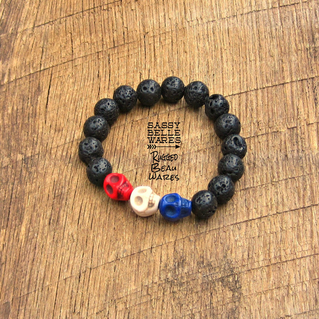 As Seen on Quinn Hill of Ashley McBryde & Deadhorse and Preston Brust of LOCASH Red White Blue Skulls Black Lava Bracelet