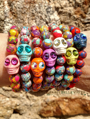 Skull Bracelet with Swarovski Crystal Eyes option