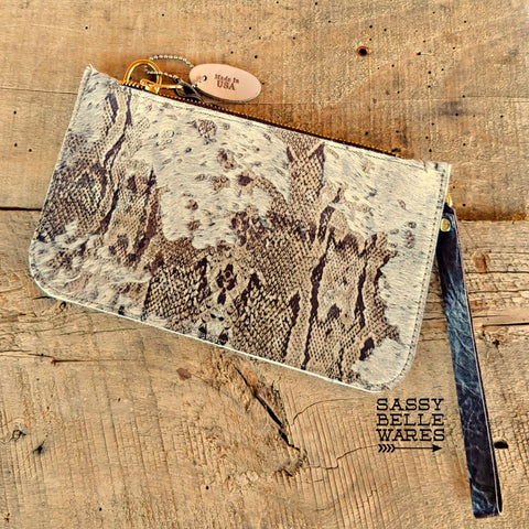 Leather Wristlet - Snakeskin Patterned Cowhide