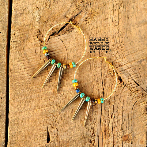 "Hoops and Spikes with Turquoise Bead Mix Gold Earrings Antique Gold Spikes 2"" Diameter"