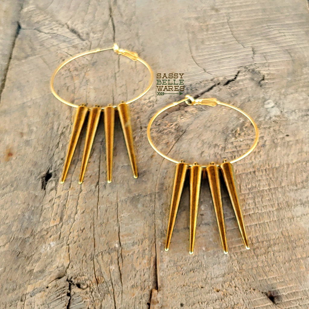 "Hoops and Long Spikes Gold Earrings 2"" Diameter"