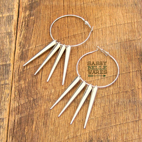 "Hoops and Long Spikes Silver Earrings 2"" Diameter"