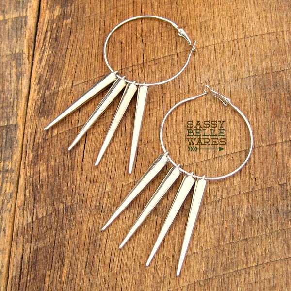 "Hoops and Spikes Earrings 2"" Diameter"