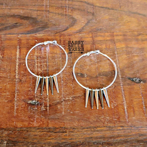 "Hoops and Small Spikes Earrings 2"" Diameter Silver Gunmetal Mix"