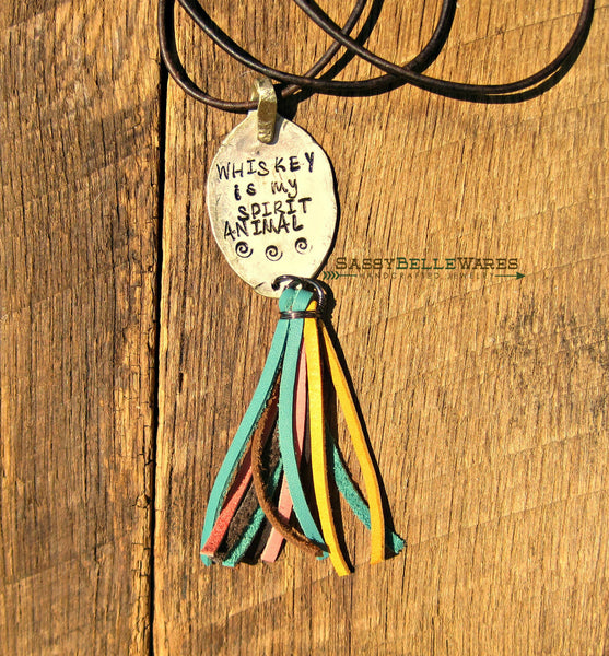 Whiskey Is My Spirit Animal Leather Tassel Necklace