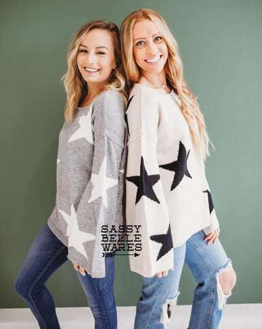 Star Sweater - Black ( Large & XL ) Grey ( Small ) Only