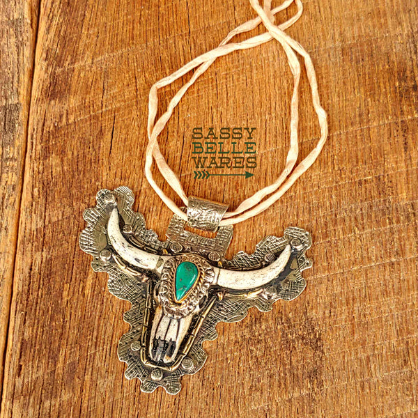 Longhorn Silk Cord Statement Necklace
