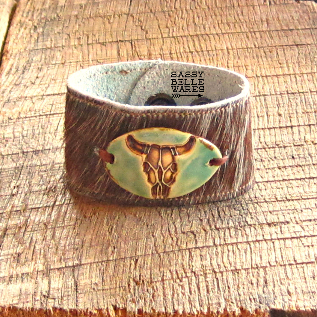 Steer Skull Leather Cowhide Cuff Bracelet