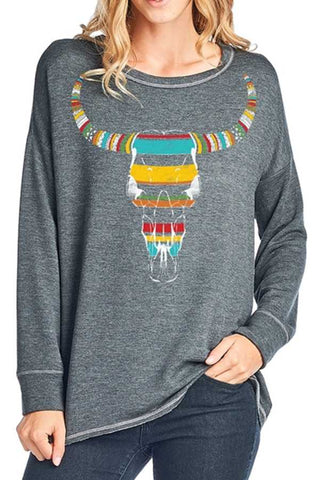 Steer Skull Sweatshirt Top