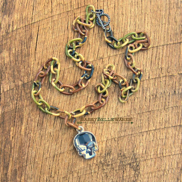 Camo and Swarovski Skull Necklace