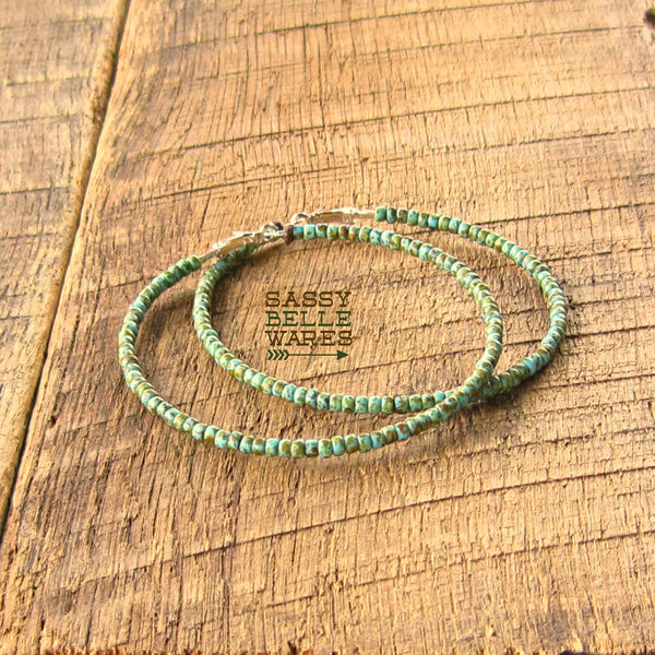 "Giant Beaded Hoop Earrings 3.5"" Diameter Turquoise Green"