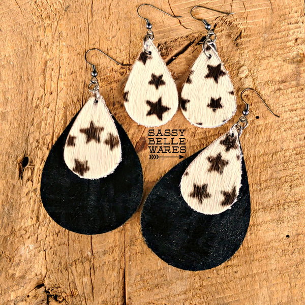 Leather Teardrop Earrings Black and White Stars