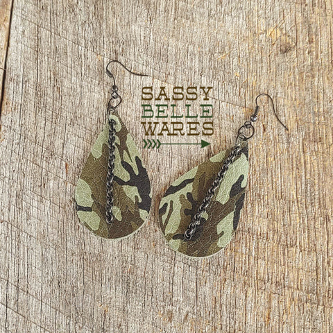 Leather Teardrop Earrings Light Camo with Chain
