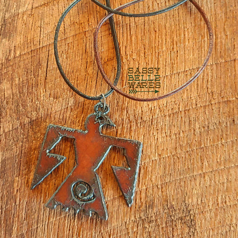 Rustic Thunderbird Leather Necklace