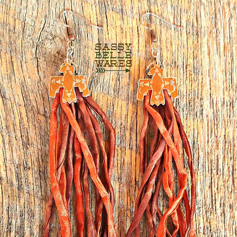Thunderbird Silk Tassel Earrings - Brown and Rust