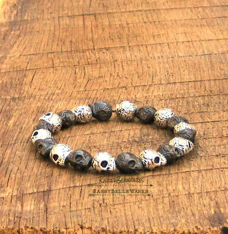 Mens Skulls Bracelet Antique Silver and Gunmetal