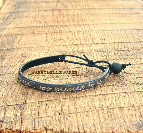 Too Blessed to be Stressed Leather Bracelet