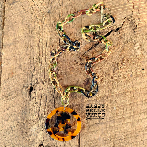 Camo and Tortosie Shell Skull and Crossbones Necklace
