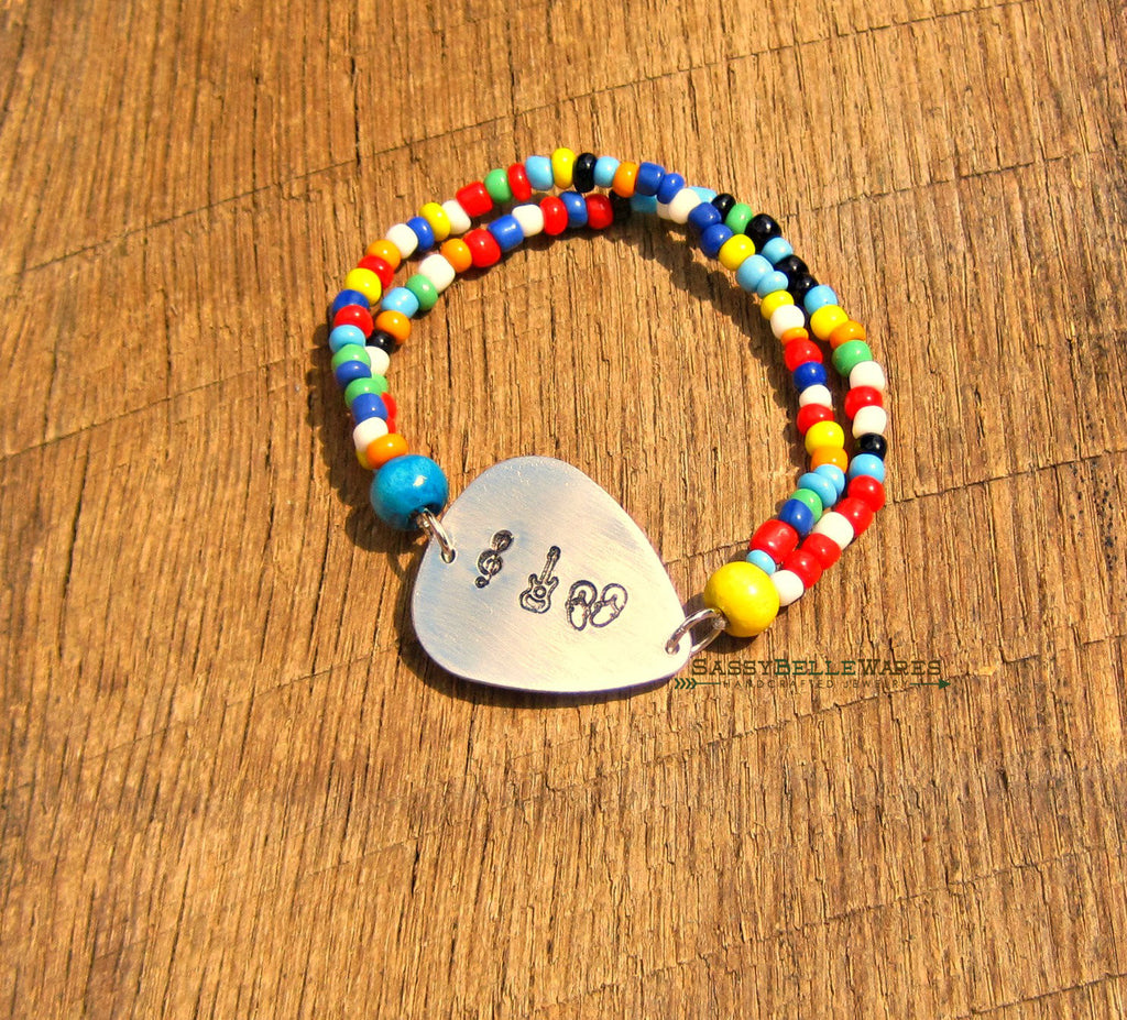 Music Guitars and Flip Flops Guitar Pick Bracelet