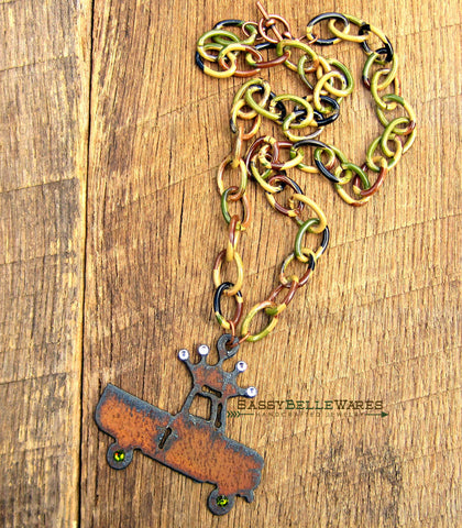 Rustic Crown Truck Camo and Crystals Necklace