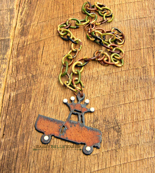 Rustic Crown Truck Camo and Pearls Necklace