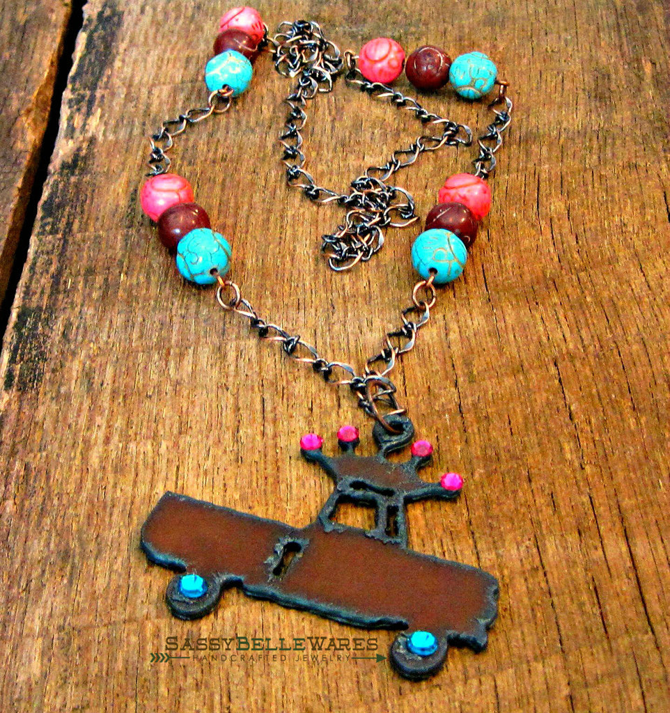 Rustic Truck with Swarovski Crystal Crown and Wheels Necklace